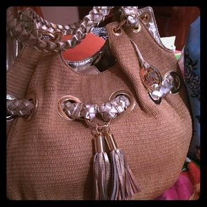 Michael Kors tan rattan silver / braid  NEW!